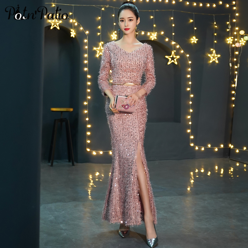 Long Sleeve   Prom     Dresses   2019 V-neck Pink Sequined Mermaid   Prom     Dresses   Plus Size Party   Dresses   Women Evening