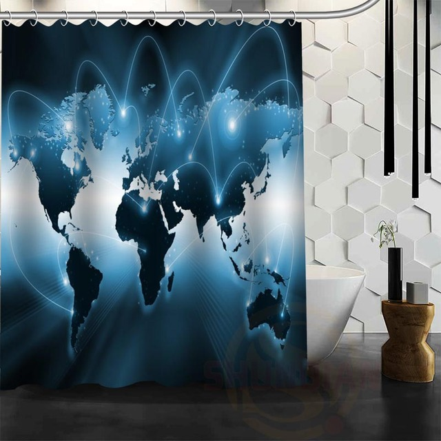 Best nice custom world map shower curtain bath curtain waterproof best nice custom world map shower curtain bath curtain waterproof fabric bathroom more size wjy114 gumiabroncs Image collections