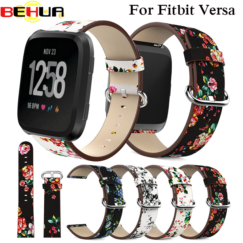 peony Print Watch Band for Fitbit Versa Replacement Watch Accessories Leather Wristbands Straps Bracelet Flower Strap for fitbit