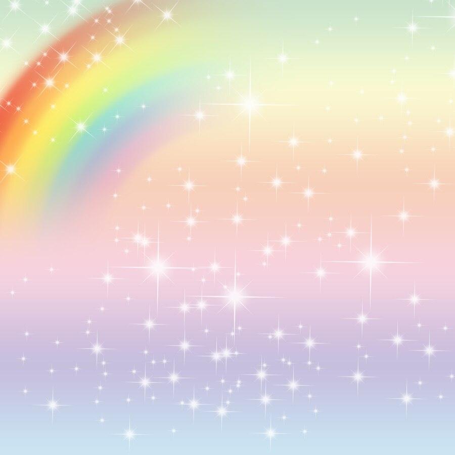 Laeacco Rainbow Backdrop Shiny Star Dreamy Happy Baby Birthday Party Customized Poster Photo Backgrounds Photocall Photo Studio