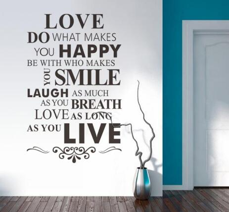 Us 10 3 14 Off Love Do What Makes You Happy Wall Lettering Stickers Inspirational Quotes Sayings Art Homeroom Wall Decor Decals In Wall Stickers
