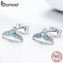 BAMOER Mermaid Stud Earrings Hot Sale 100% 925 Sterling Silver Blue Zircon Tail Small Earr