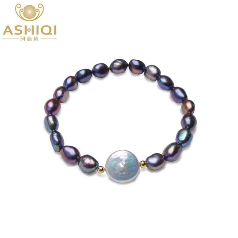 Ashiqi Real 12-13Mm Button Freshwater Pearl Bracelets Pure Black Baroque Pearl For Girls With 925 Sterling Silver Bead