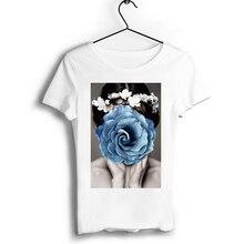 Sexy Girl Flowers Tshirt Short Sleeve Casual Print T Shirt O-Neck T-shirt Vintage Boyfriend Gift Tops