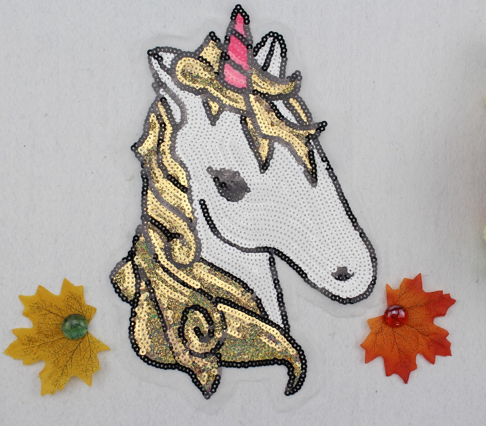 BT004 5Pcs/1 lot French Swiss Wholeale High Quality Sequins Horse Applique Clothes Patch Decoration Free Shipping factory price