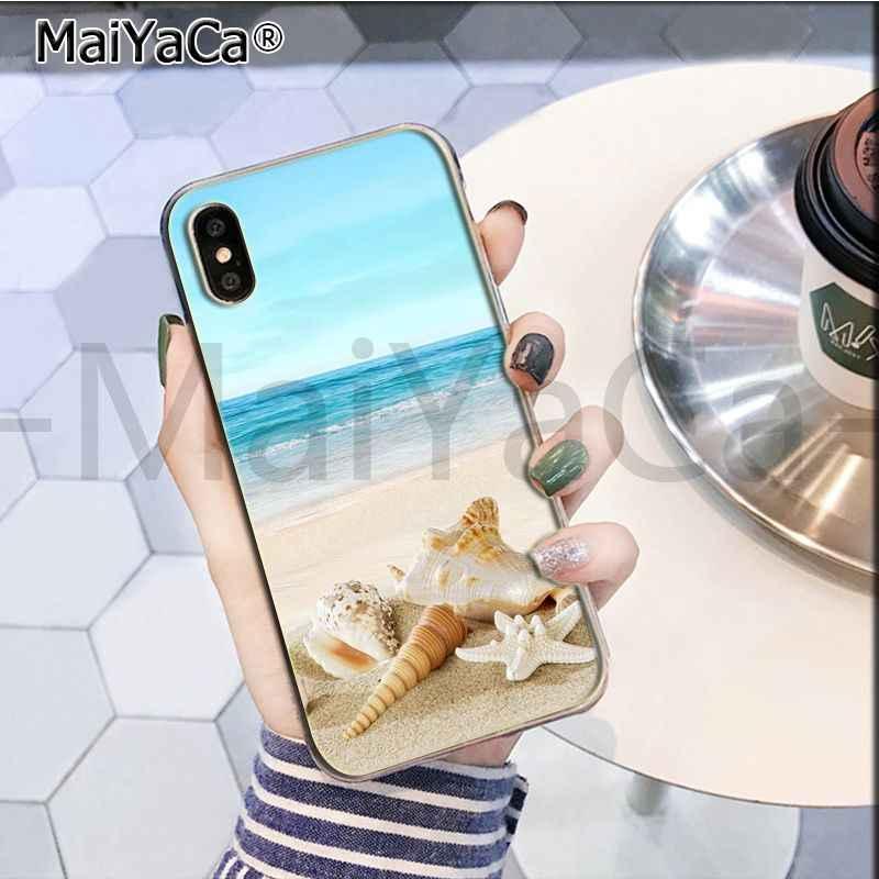 MaiYaCa verano playa relajarse estrella mar cielo sol TPU funda de teléfono para iphone 11 pro 8 7 66S Plus X 10 55S SE XR XS.