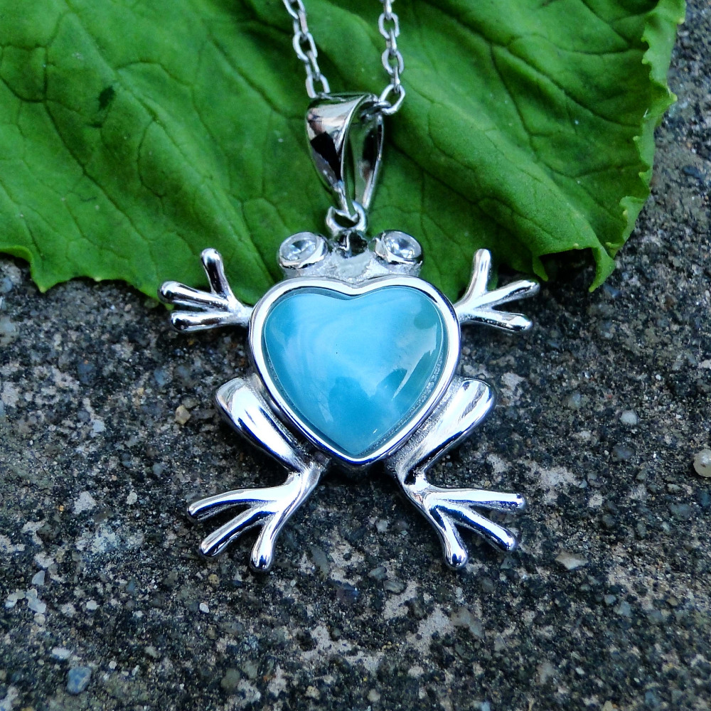 Natural Larimar 925 Sterling Silver Pendant Cute Frog Genuine Stone Charm Pendant Christmas Gift For Children Without Chain