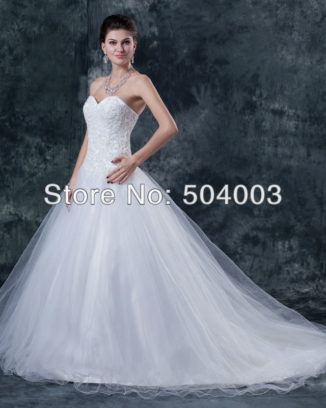 custom made new design affordable tull appliquesbeading ball gown wedding dress free shipping