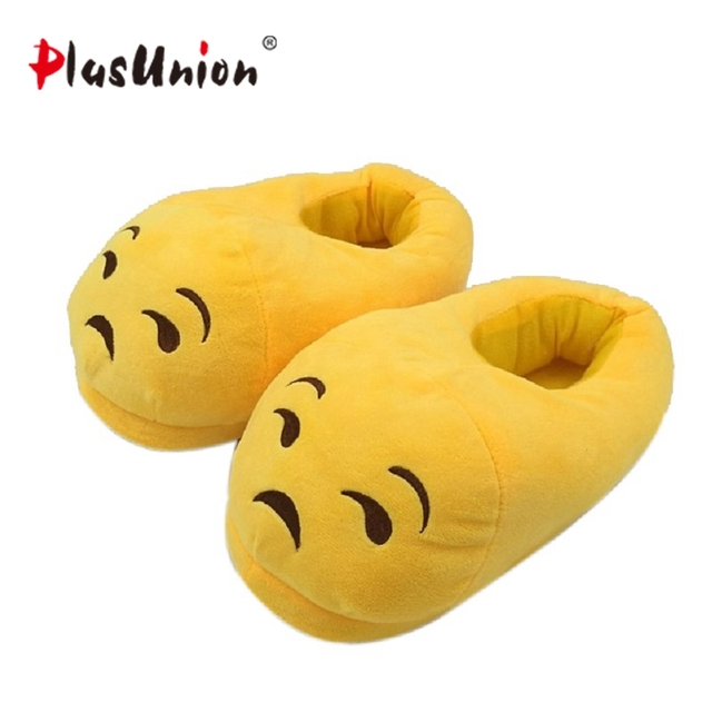 c63dbfc64cc8 adult cute flock flat cartoon winter indoor furry slippers unisex fluffy emoji  shoes house for women cosplay costumes plush