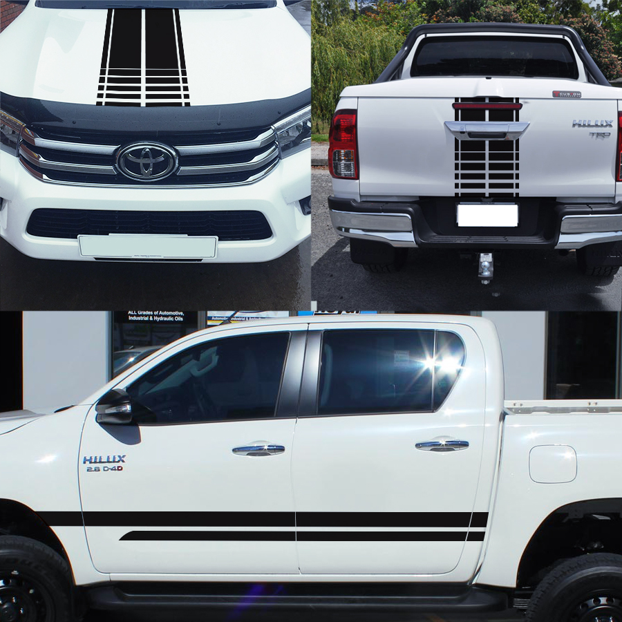 free shipping 4x4 racing styling side door stripes hood graphic car sticker kits for TOYOTA HILUX 2015 in Car Stickers from Automobiles Motorcycles