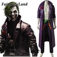 Injustiça 2 coringa cosplay costume feito trajes de halloween para adultos homens fantasia palhaço traje roxo inverno casaco