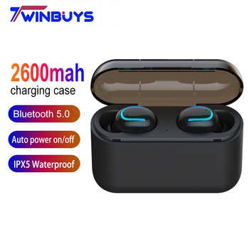 TWS Wireless Earphones Bluetooth 5.0 Headsets Mini gaming headphones with HD MIC 2600mah charging case for xiaomi iphone samsung - DISCOUNT ITEM  43% OFF All Category