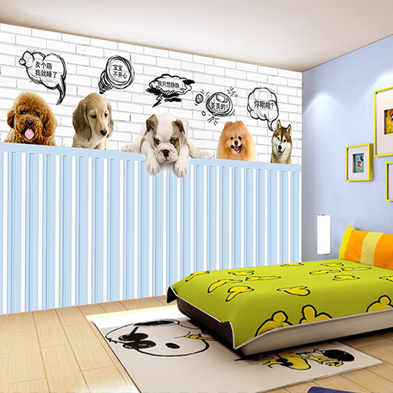 custom 3d photo wallpaper mural bed room HD wallpaper cute pet dog 3d painting sofa TV background wall home decor murals 3d photo wallpaper custom room mural non woven sticker retro style bookcase bookshelf painting sofa tv background wall wallpaper