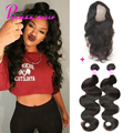 360 Lace Frontal With Bundle 8A Brazilian Virgin Hair Closure With Bundles Brazilian Body Wave Pre Plucked Frontal With Bundles