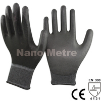 NMSAFETY 13 Gauge Knitted Black Polyester/Nylon Safety Work Gloves