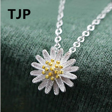 TJP Cute Sunflower Design Female Pendant Necklace For Women Party Fashion 925 Sterling Silver Choker Girl Accessories