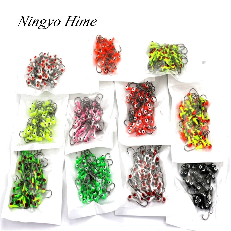 50Pcs/lot Winter Ice Fishing Lure Mini Metal Lead Head Hook Bait Jigging Lure Hooks High Quality For FishingTackle 50pcs new wifreo soft lure loader locker connector fishing worm hook bait accessories for bass fishing wholesale