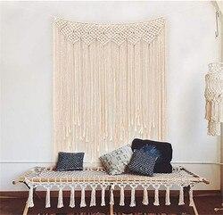 Boemia Artesanal Tapeçaria Boho Casamento Rústico Cortina Macrame DIY Wall Hanging Cenário Algodão Partido Do Vintage de Decoração Para Casa Presentes