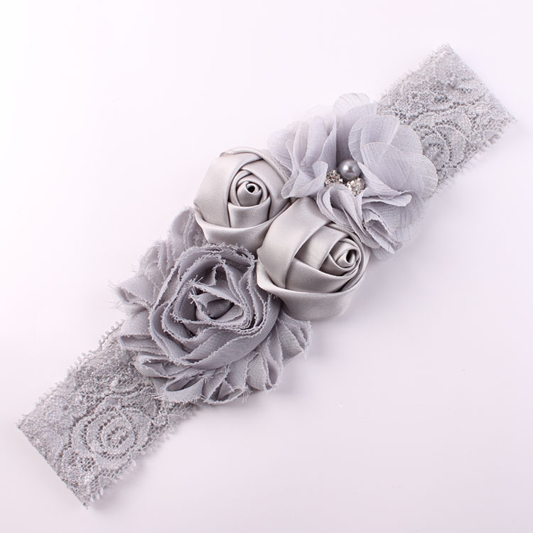 Shabby Lace Baby Headband Chic flor venda de las muchachas venda de la flor del arco para el bebé Niños Accesorios del pelo