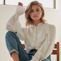 2018 Autumn Women Fashion Blouse Hollow Out New Arrival Long Sleeve White Tops and Blouse High Quality Women Shirt Runway Top