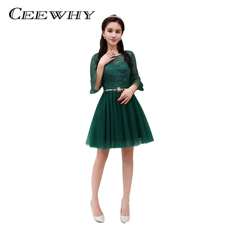 CEEWHY Ruffles Half Sleeve Short Lace Party Dress Green ...