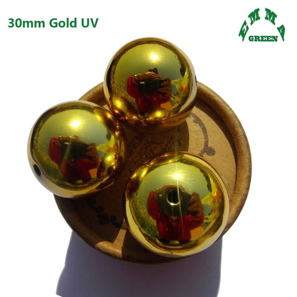 Large round christmas ornaments - 2017 Mini Order 30mm 5 Pieces Big Large Christmas Ball Bead Acrylic Uv Coated Covered Beads