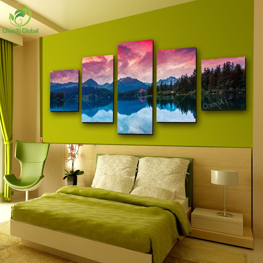 5 Panel Unframed Landscape Mountains Rivers Canvas Oil Painting Wall ...