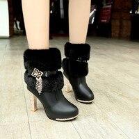 10CM 2018 winter warm women's boots waterproof platform round head with high heel rhinestone tassel plush knight boots