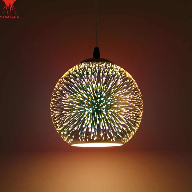 Современный 3D покрытием красочные лампы Стекло Подвесная лампа для фойе центр лампы Диаметр: 20 Вт, 30 см E27 110-240 V Бесплатная доставка