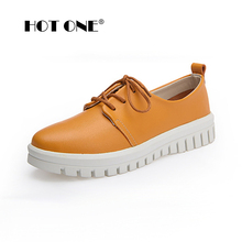 Women Flat Platform Shoes 2017 Brand New Woman Leather Lace Up Platform Shoes for Ladies Casual
