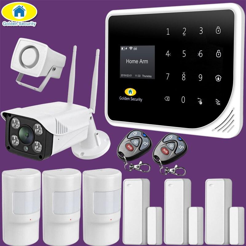 Güvenlik ve Koruma'ten Alarm Sistemi Kitleri'de Altın güvenlik rusça İspanyolca İngilizce S5 WIFI GSM güvenliği ev GSM Alarm sistemi APP kontrol Alarm kiti title=