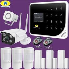 Golden segurança russo espanhol inglês s5 wifi gsm segurança em casa gsm sistema de alarme app controle alarme kit