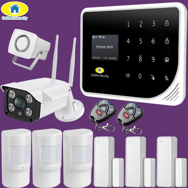 Sécurité dorée russe espagnol anglais S5 WIFI GSM sécurité maison système dalarme GSM APP contrôle Kit dalarme