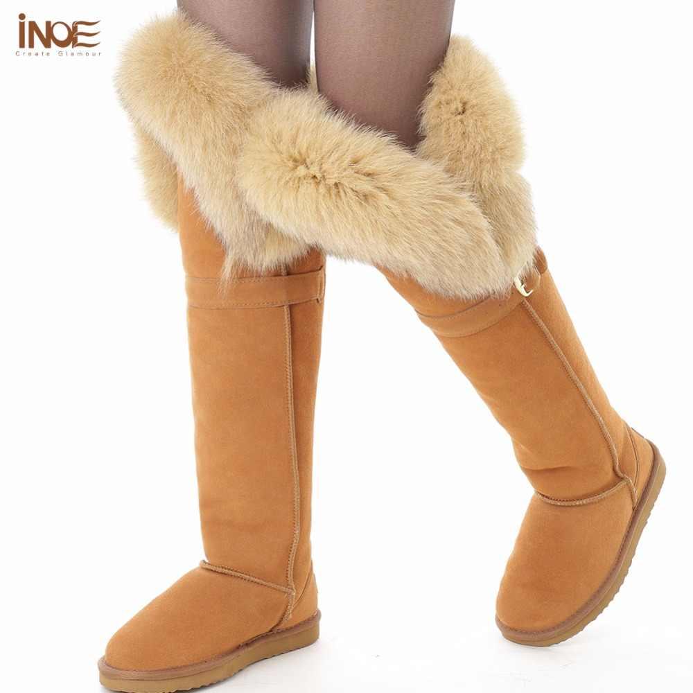 INOE gerçek tilki kürk koyun derisi deri diz kış kar botları kadınlar için koyun kürk astarlı kış ayakkabı siyah 35-42 kaymaz