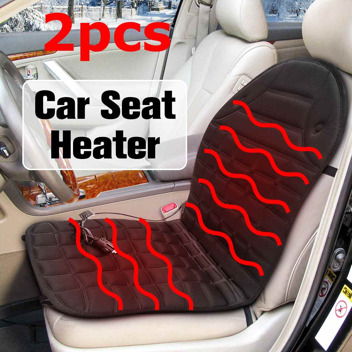 Cushion Heater-Warmer Seat Car-Seat-Cover Fast-Heated Winter 2PCS 12V Household