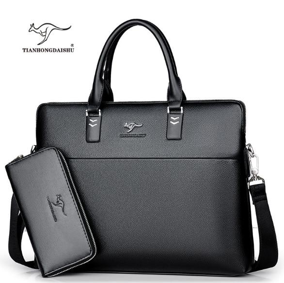 TIANHONGDAISHU Men Casual Briefcase Business Shoulder Leather Messenger Bags Computer Laptop Handbag Men's Travel Bags handbags(China)