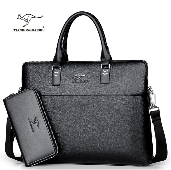 TIANHONGDAISHU Men Casual Briefcase Business Shoulder Leather Messenger Bags Computer Laptop Handbag Men's Travel Bags Handbags