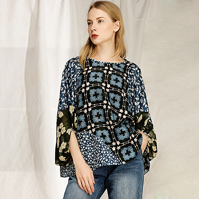 100% Silk Blouse Women Top Printed Spliced Design O Neck Three-quarter Lantern Sleeves Loose Top Casual Style New Fashion 2019