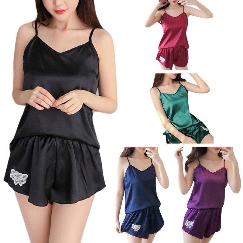 Fashion New Women's Sexy Faux Silk Sleeveless Camis   Pajamas     Set   Girls Lady Female Flower Embroidery Deep V-neck Sleepwear