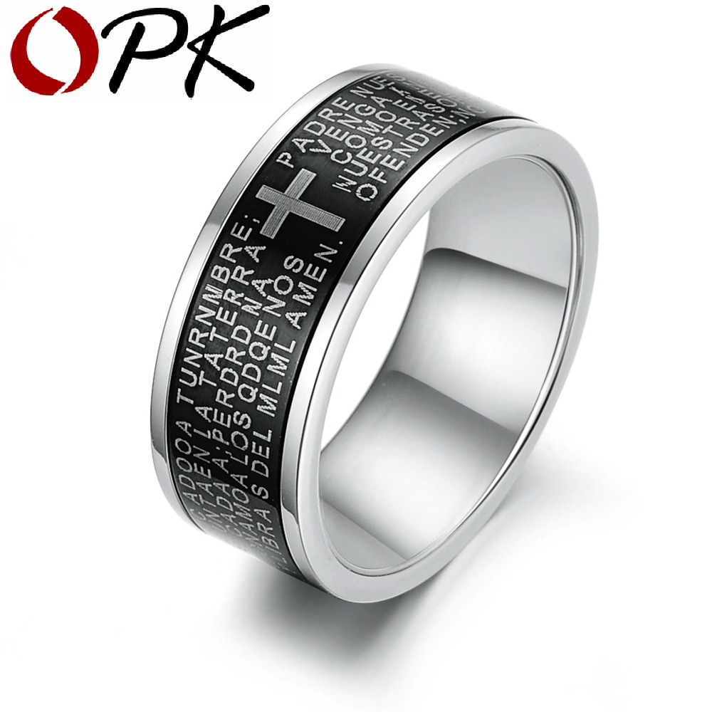 OPK Punk Cross & Bible Rings For Men Stainless Steel Carved Scriptures Religious Finger Bands Free Shipping 279
