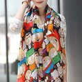 Free shipping 2016 New Novel Women Cartoon Figure fashion silk scarf  cape  velvet chiffon scarves