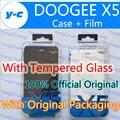 Doogee x5 case oficial capa de couro flip original + filme protetor de tela de vidro temperado para doogee x5 pro telefone-frete grátis
