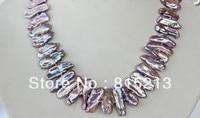 FREE SHIPPING>@@> N205 stunning big 23mm baroque biwa purple freshwater cultured pearl necklace