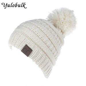 b653f856312 yulobulk Knitted Children Winter Cap Hats Pompom Beanie