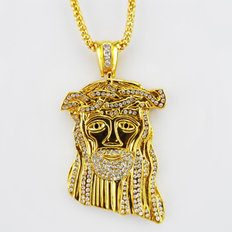 Hip hop long necklace Gold Color High quality crystal jesus piece pendant  Fashion Gold Chain For Men-in Pendant Necklaces from Jewelry   Accessories  on ... 725d59a893