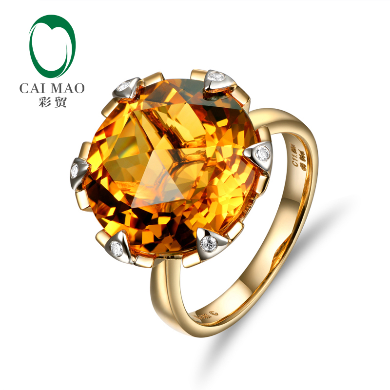 Caimao Jewelry 14K Yellow Gold 11.3CT Flawless Round Citrine Pave Diamond Engagement Ring Caimao Jewelry 14K Yellow Gold 11.3CT Flawless Round Citrine Pave Diamond Engagement Ring