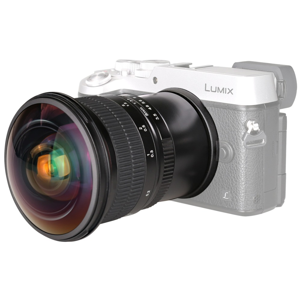 Meike 8mm F3.5 Fisheye Manual Fisheye Lens for Olympus Panasonic Micro M4/3 Mount E-M1 Mark II E-M5 Mark II E-M10 silver fujian 50mm f1 4 cctv movie lens c mount to micro 4 3 m4 3 for olympus e m1 mark ii e m5 ii e m10 ii e pl7 8 e pm1 e pl2