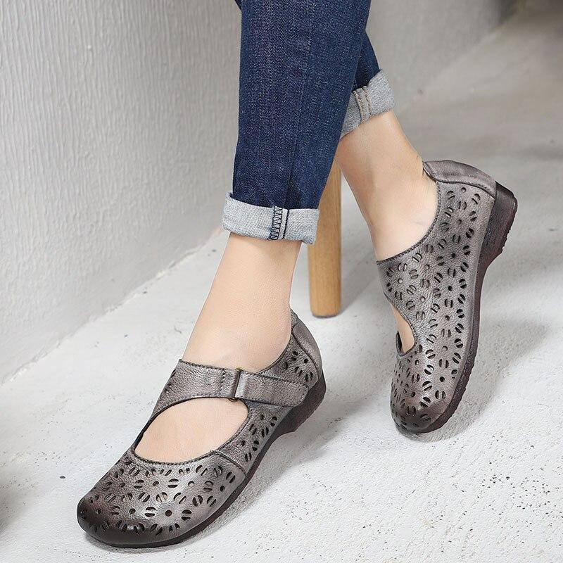 2019 Artdiya Évidé Femmes Chaussures Cuir Véritable Rond Doux Appartements Rétro D'été Coffee gray Bout Plate En Printemps Semelle Confortable Et Nouveau mn0vN8w