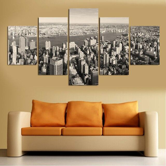5 piece wall art canvas lukisan hitam dan putih new york kota modular gambar dekorasi rumah