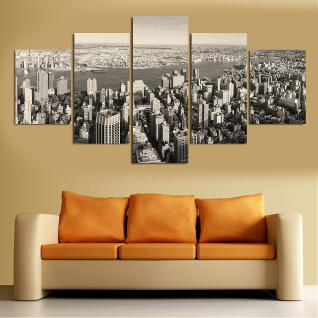 5 piece wall art canvas painting black and white new york city modular pictures home decor